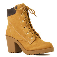 Heeled Lace Up Booties in Blond