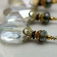 Bead Dangle Clear AB Oval Hexagon with Olive Czech Firepolished and Gold Bead Dangle Charm Pendant Earring Dangle Set