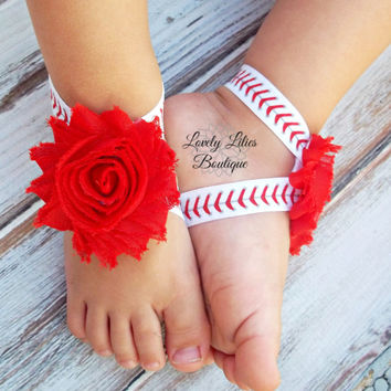 Baby Barefoot Sandals .. Baseball Sandals .. Toddler Sandals .. Newborn Sandals .. Baby Flower Sandals