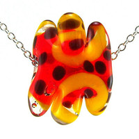 Lampworked Glass NecklaceOrange Red and Yellow by MercuryGlass