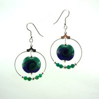 Storm at Sea Lampworked Glass Bead Earrings with by MercuryGlass