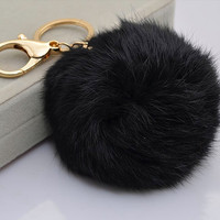 Cute Genuine Leather Rabbit fur pom pom keychain for car key ring Bag Pendant BLACK