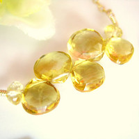 Abstract citrine gold filled necklace