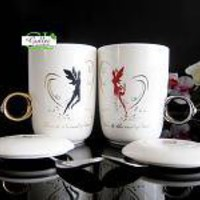 Anniversary Gift Cup 2 Pair Flying Angel Couple Heart Coffee Cup