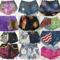 Vintage HIGH waisted Festival Levi Flag ombre dye Studded Cut off Denim shorts