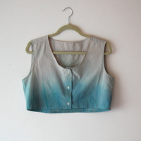 Ombre Crop Top in Blue and Dusty Lavender