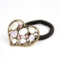 Korean Style Vintage Heart Ponytail Holder wholesale