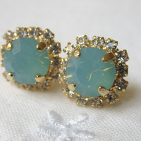 Chalcedony blue mint Swarovski post earrings, Gold post earrings, Crystal post earrings, Stud earrings, Bridal earrings, Bridesmaid gifts