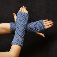 Blue Fingerless Gloves Soft Knit Chevron Wrist Warmers Mittens