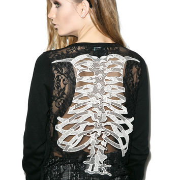 Too Fast Ribcage Embriodered Cardigan Black
