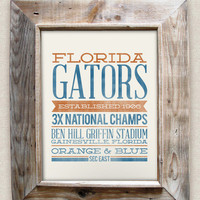 FLORIDA GATORS - 8x10- Rustic - Vintage Style - Typographic Art Print - Subway Style - Football