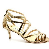 Jimmy Choo Fitzroy Vintage Gold Strappy Sandals - &amp;#36;210.00