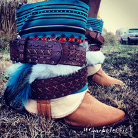 Aztec/Tribal/Native insert and Western boot Size 8