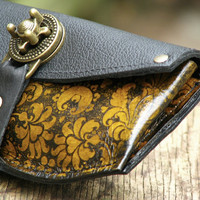 Women's Leather Wallet - Baroque Steampunk on Yellow with Antique Brass Hardware