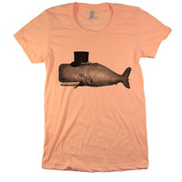 Women's T shirt - WHALE  American Apparel Tri Blend - Poly Blend Colors - Apricot - (2 COLORS)  (gcw)