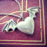 Angel Devil Heart necklace - Heart with bat wings - Heart with wings