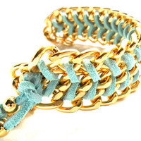 Chunky Gold Chain Mint Chevron leather Bracelet pastel fashion metallic