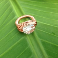 Clear crystal copper ring - size 6 1/2 - wire wrapped ring - chunky ring - cocktail ring - natural stone ring - handmade ring