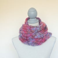 Hand Knit Pink Multicolor Mobius Infinity Scarf - Ready to Ship -  Orange, blue, gold, brown knit cowl, fall knit scarf