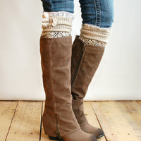 The Lacey Lou Natural Open-work Leg Warmers with ivory knit lace trim & buttons - Legwarmers (item no. 3-14)