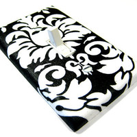 Black and White Damask Light Switch Cover Modern Cottage Shabby Chic Home Decor 923