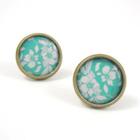 Teal Floral Earring Studs - Teal White Earrings - Romantic Jewelry - Free Shipping - Under 25