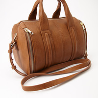 Zippered Faux Leather Satchel