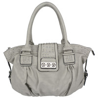 BRENNA Grey Studded Shopper Hobo
