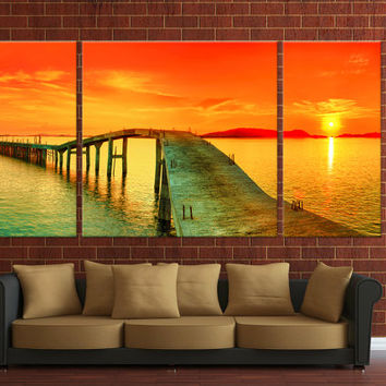 Wall Hanging Canvas Home decoration, 3 panels sunset wall decor, Ready to hang on wall - Framed