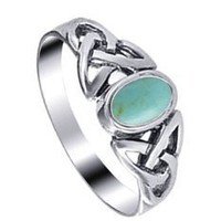 Sterling Silver 7mm Turquoise Celtic Knot Band Ring Size 4, 5, 6, 7, 8, 9