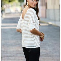 CHEVRON STRIPE BUTTON BACK TOP