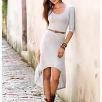GREY BELTED HI-LOW JERSEY KNIT DRESS