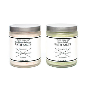 Therapeutic Soothing and Relaxing Bath Salts - Aromatherapy - Natural Bath Salts - Scented with Lavandin and Orange Essential Oils