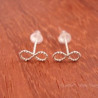 Mini Infinity Stud Earrings, Fancy Twisted Wire, 20 Gauge