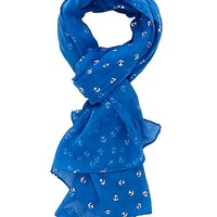 Metallic Anchor Print Wrap Scarf by Charlotte Russe