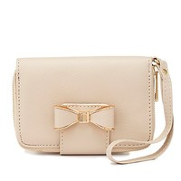 Bow-Topped Wristlet Wallet by Charlotte Russe - Beige