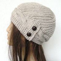 Hand Knit  Hat- winter hat - Womens hat  Cloche hat  in  Oatmeal Beige  Winter Accessories  Fall Autumn Winter  Fashion Cable knit hat