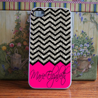 hot pink and silver Chevron Personalised - iPhone 4S and iPhone 4 Case Cover