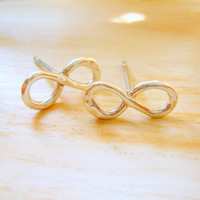 Tiny Silver Infinity Post Earrings Infinity Jewelry Infinity Earrings - MADE TO ORDER