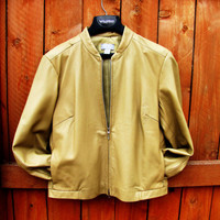 vintage pale mustard yellow leather jacket. Old Navy. size M to L. fall fashion. cropped leather jacket