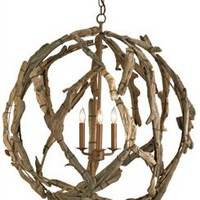 Driftwood Orb Chandelier - Currey & Company | Burke Decor