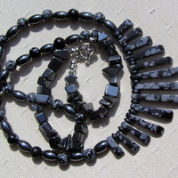 "Snowflake Obsidian & Hematite Gemstone Crystal Fan Necklace - ""Black Satin"""
