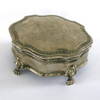 Jewelry Box. Silver Plated. Lidded. Patina. Bookshelf or Vanity Display. Secret Hiding Place. Curationnation. Rhapsody Attic on Etsy.