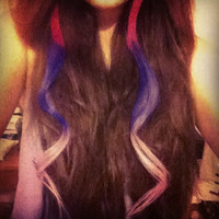B O L D or pastel colored human hair extension/ clip-in hair/ dip dye ombre (1) hair extension