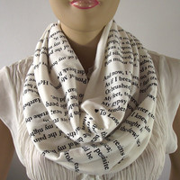 Love Poems Infinity Scarf...Emily Dickinson...Circle Tube Scarf....Cotton Jersey...Hand printed...Romantic Loop Scarf..Perfect Love Gift