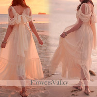Romantic Victorian Cream Elegant Dress Chiffon Gown / Bridesmaid Dress