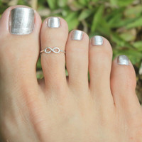 Tiny Infinity Sign Toe Ring , 925 sterling silver Adjustable Ring...Toe Ring/Knuckle Ring/Pinky Ring/Kids Ring