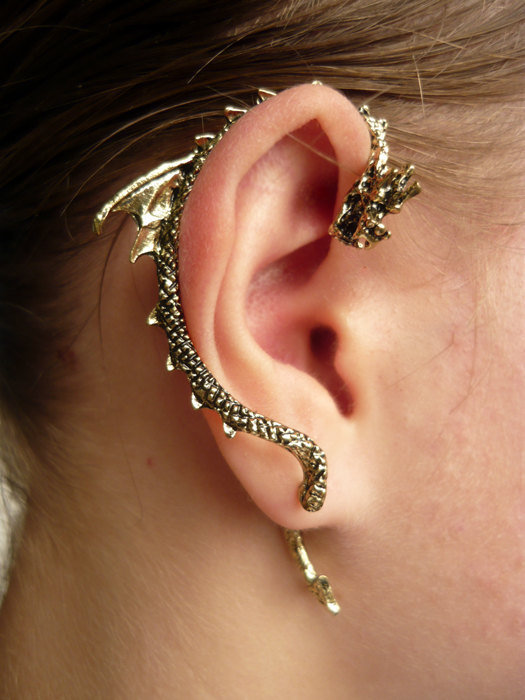 Gothic punk dragon bite ear cuff earring from orlika on etsy - Game of thrones dragon ear cuff ...