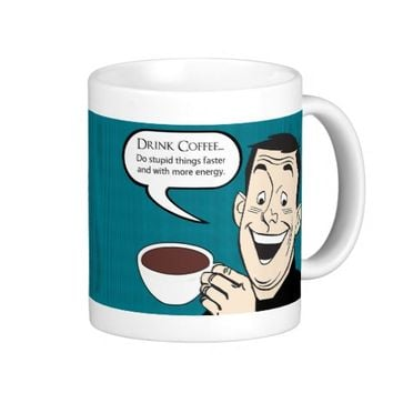 Drink Coffee Funny Cartoon Man with Pop Art Style