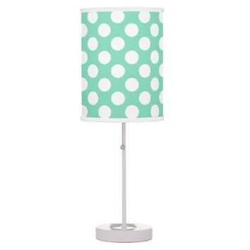Mint White Polka Dots - Table Lamp